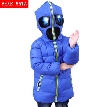 BEKEMATA Boys Winter Jacket With Glasses Hood 2016 Fashion Long Sleeve Kids Goose Down Jackets For Girls Children's Coats 4Y-10Y