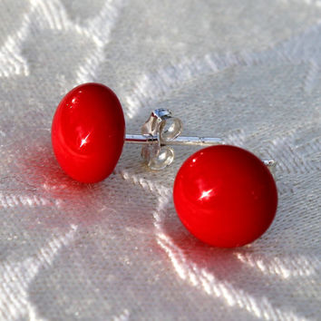 STUDS - Fabulous Red Glass and Sterling Silver Stud Earrings, Fused Glass, Handmade, Ckristmas Jewelry, Glass Jewelry