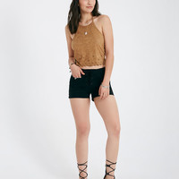 Faux Suede Halter Top With Eyelet Trim | Wet Seal