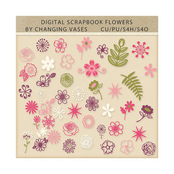 45 Flowers Clipart Clip Art Floral Flourishes Leaves Scrapbook Elements Royalty Free Green Hot Pink Light Pink Purple Beige Wedding Graphic