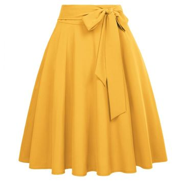Plus-Size Solid Color High Waist skirts Self-Tie Bow-Knot Embellished knee length elegant retro A-Line Skirt