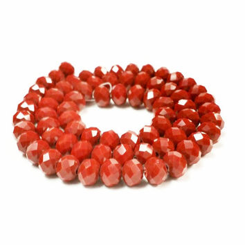 70 Red Rondelle Beads, Red Glass Beads, 6x8mm Faceted Glass Beads , Spacer Beads, Bead Supply, Red faceted rondelle beads, rondelle beads