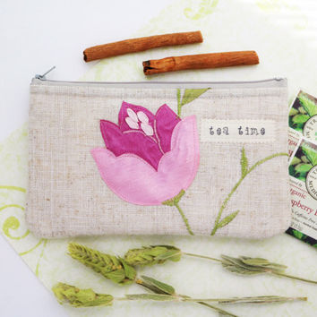 Tea wallet, Travel Tea bag holder, Tea bag wallet, zippered pouch, Tea bag holder, Tea Accessories, Teacher gifts handmade Hostess gifts