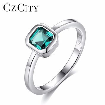 CZCITY 925 Sterling Silver Engagement Rings for Women 4mm*4mm Square Emerald Gemstone Promise Wedding Ring Anel Feminino SR0082