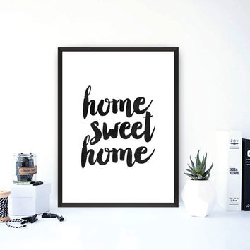 "printable art""home sweet home"" inspirational quote,modern wall art,typography print,word art,watercolor print,instant download,home decor"