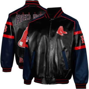 Boston Red Sox Post Game Pleather Jacket - Black/Navy Blue