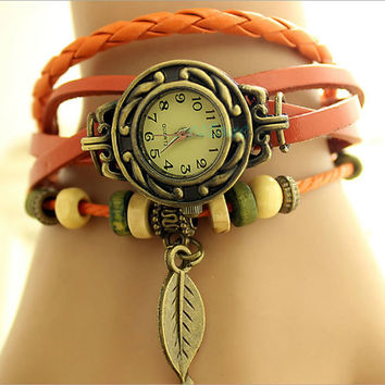 Womens Quartz Watch Retro with  Leather and Bracelet with beads and leaf Decoration