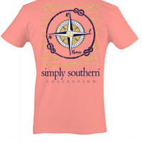 Simply Southern Compass Tee - Coral