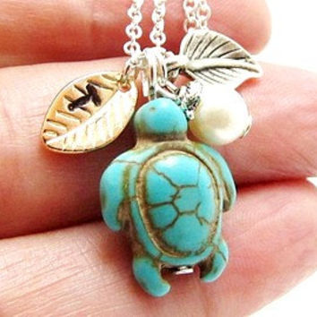 Personalized Turtle Necklace, Hand Stamped,Turquoise Turtle Necklace, Initial Necklace,Turtle Necklace, Monogram Necklace, initial turtle