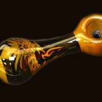 "Glass Pipe 4"" with Phoneix in Flames"