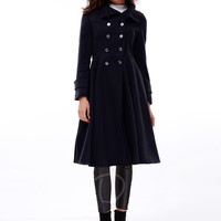 Double-Breasted Stand Collar Long Sleeve Women's Trench Coat