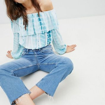 Glamorous Off Shoulder Crop Top With Ruffle Layer In Tie Dye at asos.com