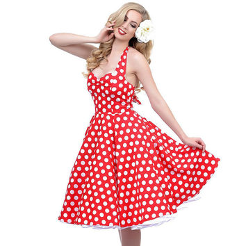 New Russian Sexy Women Retro Style Deep V-Neck Polka Dot Swing 50's Housewife Pinup Dress Rockabilly Vintage sleeveless Dresses