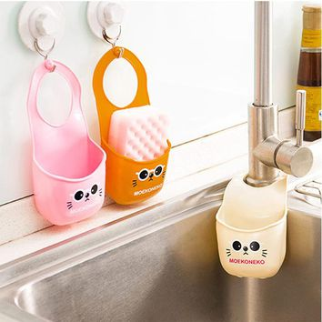 Mini Sink Storage Basket Hanging Bag Water Tank Shelf Organizer for Toilet Kitchen Sponge Soap Gadgets Accessories