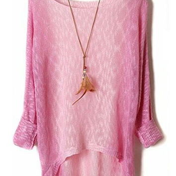 Gradient Color Ombre Asymmetrical Long Sleeve Sweater