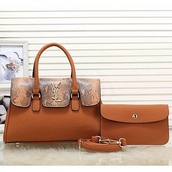 YSL Yves Saint laurent Women Fashion Leather Tote Shoulder Bag Satchel Set Two Piece