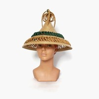 Vintage 60s Tall Straw Sun HAT / 1960s 2-Tone Wide Brim Woven Straw Hat