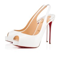 Christian Louboutin Cl Private Number Latte Patent Leather 15s Bridal 1150688wha8 - Sale