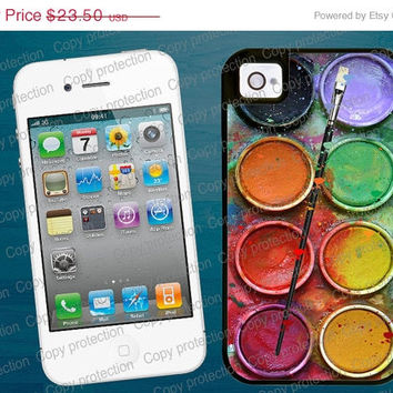 SALE Water Color Palette 2 piece rubber lining iPhone case, iPhone 5 case - Paintbox iPhone 4 hard case, iPhone cover, Artisan iPhone hard