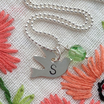 Initial Necklace Dove Bird Letter Necklace Personalized Hand Stamped Charm Sterling Silver Engraved Necklace with Birthstone by RedHorses
