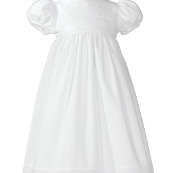 White Floral Eyelet Girls Cotton Christening Gown w. Bonnet 0-12m