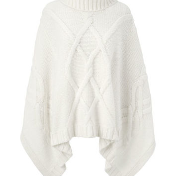Women's Aran Cable Poncho Sweater