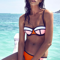 Orange Color Block Push Up Top Bikini Set