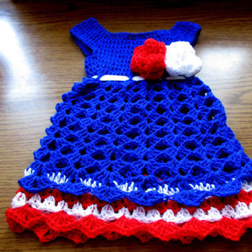 crochet baby dress blue red white , patriotic , 4th of July, memorial day, first outfit, baby clothes, baby frock , newborn dress
