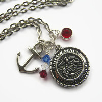 US Marine Corps Necklace, Marine Necklace, Military Jewelry, Jarhead Personalized Necklace, Marines, Choose Length, Patriotic Armed Forces