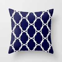 Pillow Talk- Navy Throw Pillow by Rebecca Allen