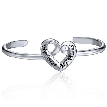 Heart Charm Cuff Open Bangle Bracelet Engraved My Sister My Friend Bracelets Women Girls Friends Wristband Jewelry Birthday Gift