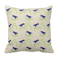 Nifty fifties - two blue birds outdoor pillow