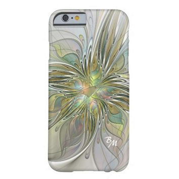 Floral Fantasy, Abstract Fractal Art Monogram Barely There iPhone 6 Case