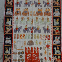 Handmade Patchwork Quilt, Applique Work Twin Size Quilt Pattern, Mughal Theme Baby Quilt 60 x 90 Inches