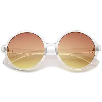 Round Retro Clear Frame Gradient Flat Lens Sunglasses A460