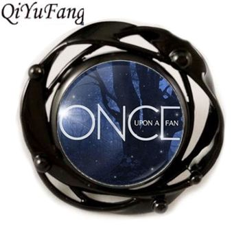 QuYiFang Once Upon a Time Fairy Tale Book Lover Rings Flower Black Ring Pendant Men Women New Jewelry Gift Friend Free Shipping