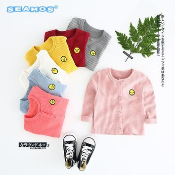 new arrive baby coat girls sweater autumn clothing cartoon facial expression embroidery coat boy NZ249