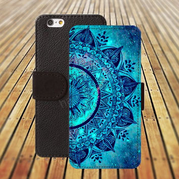 Nebula mandala blue iphone 5/ 5s iphone 4/ 4s iPhone 6 6 Plus iphone 5C Wallet Case , iPhone 5 Case, Cover, Cases colorful pattern L018