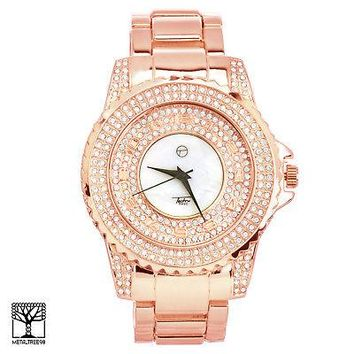 Jewelry Kay style Techno Pave Men's Fashion Rose Gold Plated Iced CZ Metal Band Watches WM 8661 RG