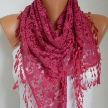 BIG SALE Cherry  Lace Scarf -  Shawl Scarf Women Scarves Cowl Scarf Bridesmaid Gift - fatwoman