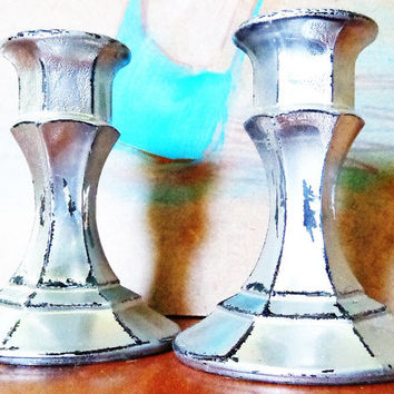 Pair of Candlestick Holders - Distressed Chrome Candlestick Holders - Metallic Silver Glass Candlestick Holders - Glass Candle Holders