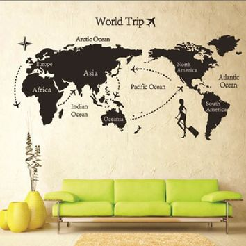 Removable paper for decor vinyl wall stickers on the Wall for kids rooms decals house Sticker girls world map sticker AY9133