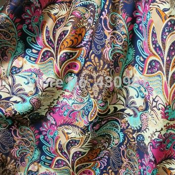 soft spandex satin fabric for sewing vintage flowers imitate silk material elastic stretch satin fabric print