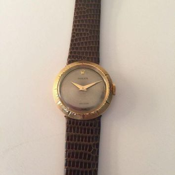 GETOW Vintage Ladies 18k Yellow Gold Rolex Precision Watch w/Rolex Band. ?A beauty!