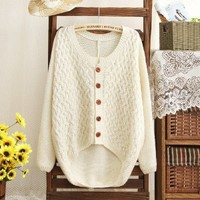 Patch Sleeves Cardigan for Women Beige