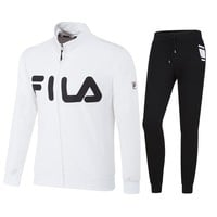 FILA 2018 autumn and winter new sports cardigan men's casual trousers sportswear two-piece White