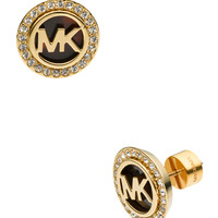 Logo Pave Stud Earrings, Golden/Tortoise - Michael Kors