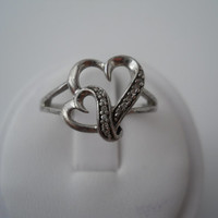 Sterling Silver 925 Double Heart Marcasite Ring Size 7 925