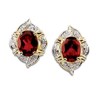 4.5-Carat Genuine Garnet and Diamond-Accent Earrings