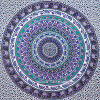 Large Blue Colorful Bohemian Elephant Mandala Tapestry, Wall Hanging Bedding on RoyalFurnish.com